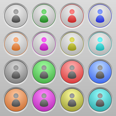 permissions: Set of user plastic sunk spherical buttons on light gray background. 16 variations included. Well-organized layer, color swatch and graphic style structure. Easy to recolor.