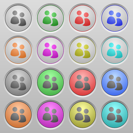 humped: Set of user group plastic sunk spherical buttons on light gray background. 16 variations included. Well-organized layer, color swatch and graphic style structure. Easy to recolor.