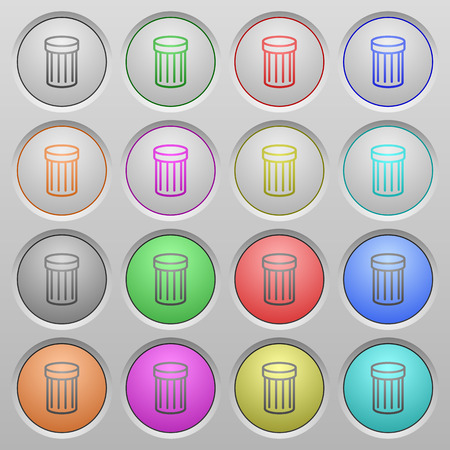 wastage: Set of trash plastic sunk spherical buttons on light gray background. 16 variations included. Well-organized layer, color swatch and graphic style structure. Easy to recolor.