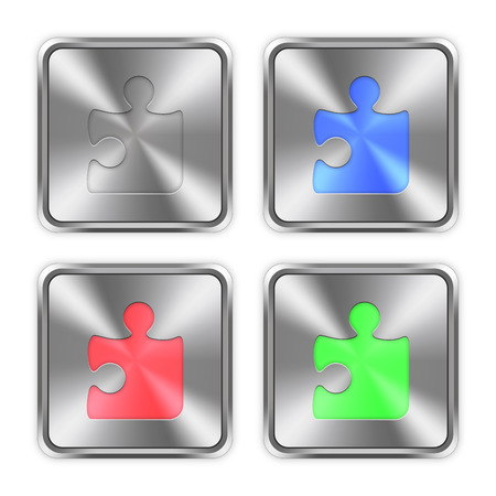 layer styles: Color puzzle icons engraved in glossy steel push buttons. Well organized layer structure, color swatches and graphic styles.