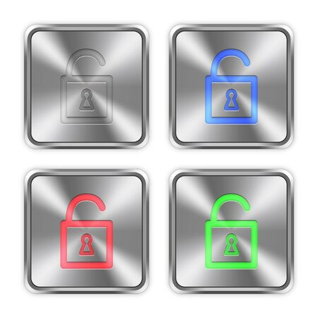 Color unlocked padlock icons engraved in glossy steel push buttons. Well organized layer structure, color swatches and graphic styles.