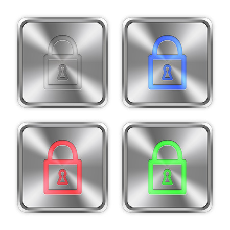 layer styles: Color locked padlock icons engraved in glossy steel push buttons. Well organized layer structure, color swatches and graphic styles.