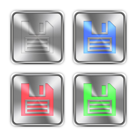 layer styles: Color save icons engraved in glossy steel push buttons. Well organized layer structure, color swatches and graphic styles. Illustration