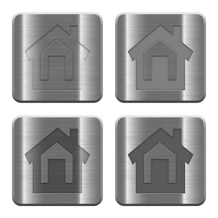 layer style: Set of Home buttons vector in brushed metal style. Arranged layer, color and graphic style structure.