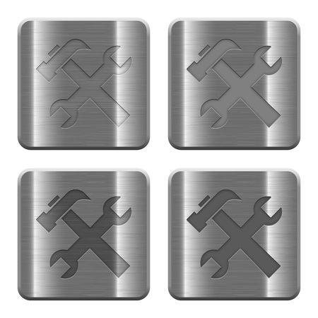 icono computadora: Set of Tools buttons vector in brushed metal style. Arranged layer, color and graphic style structure.