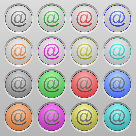 humped: Set of email plastic sunk spherical buttons on light gray background. 16 variations included. Well-organized layer, color swatch and graphic style structure. Easy to recolor.