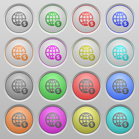 color swatch: Set of online payment plastic sunk spherical buttons on light gray background. 16 variations included. Well-organized layer, color swatch and graphic style structure. Easy to recolor.