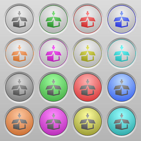 humped: Set of pack plastic sunk spherical buttons on light gray background. 16 variations included. Well-organized layer, color swatch and graphic style structure. Easy to recolor. Illustration