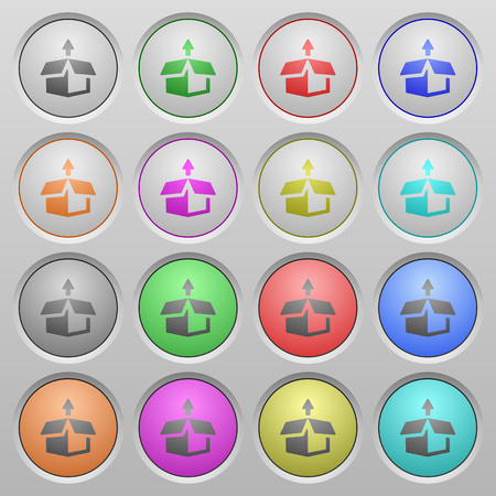 unpack: Set of unpack plastic sunk spherical buttons on light gray background. 16 variations included. Well-organized layer, color swatch and graphic style structure. Easy to recolor. Illustration