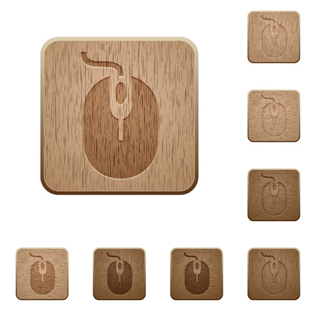 Set of carved wooden computer mouse buttons. 8 variations included. Arranged layer structure. Illustration