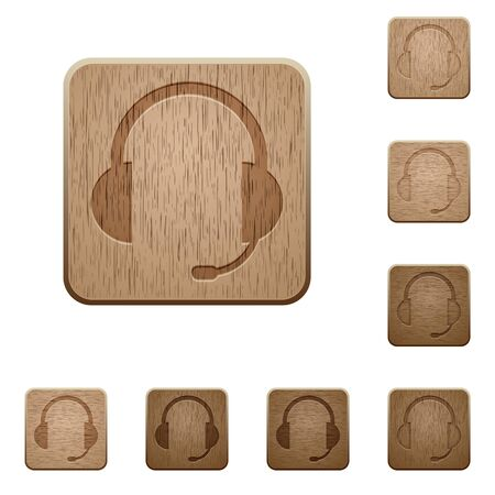 tree service business: Set of carved wooden headset buttons. 8 variations included. Arranged layer structure.