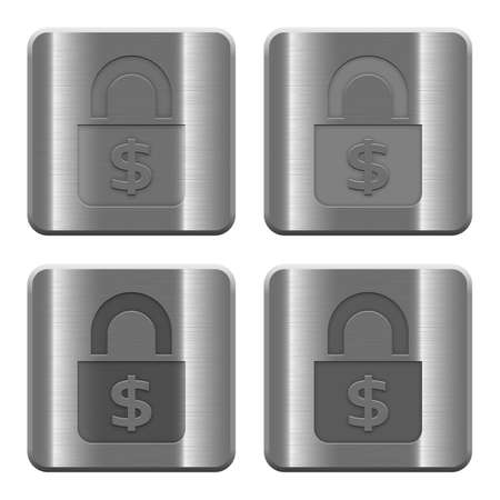 brushed aluminum: Set of Locked money buttons vector in brushed metal style. Arranged layer, color and graphic style structure. Illustration