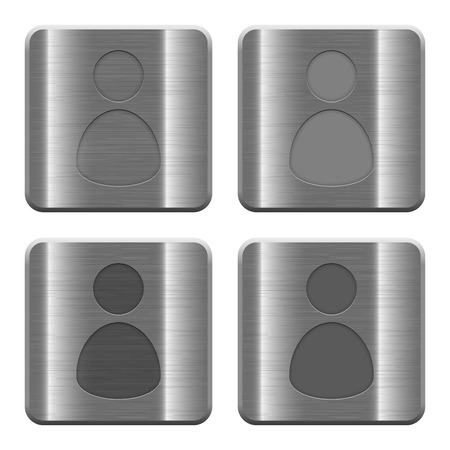 permissions: Set of User profile buttons vector in brushed metal style. Arranged layer, color and graphic style structure.