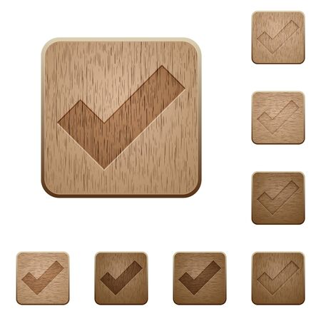 variations set: Set of carved wooden ok buttons. 8 variations included. Arranged layer structure.