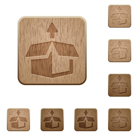 uitpakken: Set of carved wooden unpack buttons. 8 variations included. Arranged layer structure. Stock Illustratie