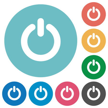 Flat power-off icon set on round color background. Light color theme.