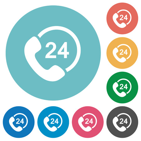 24 hour: Flat 24 hour service icon set on round color background. Light color theme.