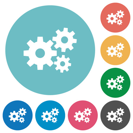 gear symbol: Flat gears icon set on round color background. Light color theme.