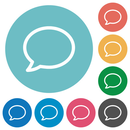 Flat chat icon set on round color background. Light color theme. Vectores