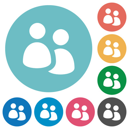 troop: Flat user group icon set on round color background. Light color theme.