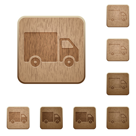 variations set: Set of carved wooden delivery buttons. 8 variations included. Arranged layer structure. Illustration