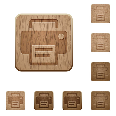 Set of carved wooden print buttons. 8 variations included. Arranged layer structure.