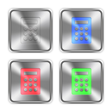 layer styles: Color calculator icons engraved in glossy steel push buttons. Well organized layer structure, color swatches and graphic styles.