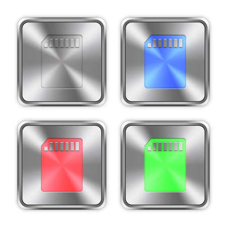 color swatches: Color memory card icons engraved in glossy steel push buttons. Well organized layer structure, color swatches and graphic styles.