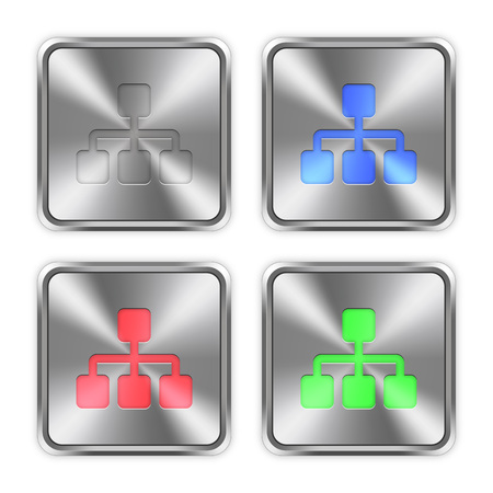 layer styles: Color network icons engraved in glossy steel push buttons. Well organized layer structure, color swatches and graphic styles. Illustration