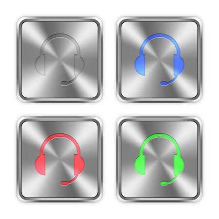 layer styles: Color headset icons engraved in glossy steel push buttons. Well organized layer structure, color swatches and graphic styles.