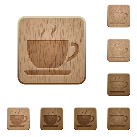 variations: Set of carved wooden coffee buttons. 8 variations included. Arranged layer structure.