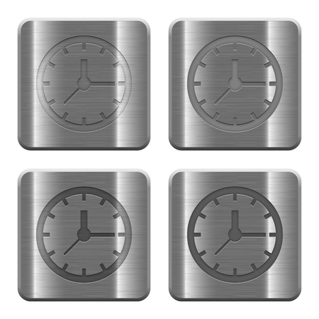 layer style: Set of Clock buttons vector in brushed metal style. Arranged layer, color and graphic style structure. Illustration