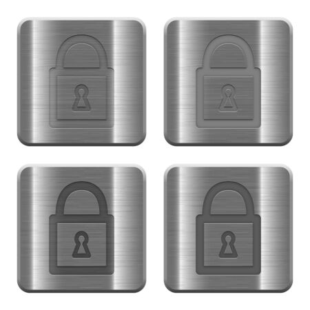 layer style: Set of Locked padlock buttons vector in brushed metal style. Arranged layer, color and graphic style structure. Illustration