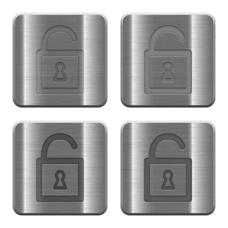 decrypt: Set of Unlocked padlock buttons vector in brushed metal style. Arranged layer, color and graphic style structure.