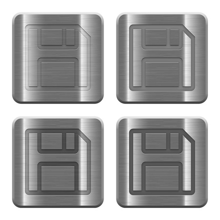 layer style: Set of Save buttons vector in brushed metal style. Arranged layer, color and graphic style structure.
