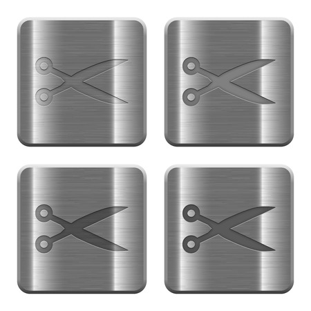 layer style: Set of Scissors buttons vector in brushed metal style. Arranged layer, color and graphic style structure. Illustration