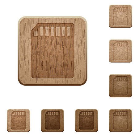 cf: Set of carved wooden memory card buttons. 8 variations included. Arranged layer structure. Illustration