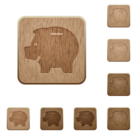 thrift: Set of carved wooden piggy bank buttons. 8 variations included. Arranged layer structure.