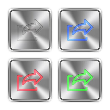 layer styles: Color export icons engraved in glossy steel push buttons. Well organized layer structure, color swatches and graphic styles.