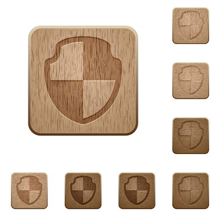 variations: Set of carved wooden shield buttons. 8 variations included. Arranged layer structure.