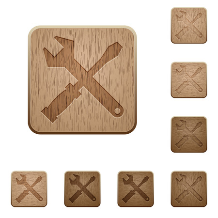 commercial tree service: Set of carved wooden tools buttons. 8 variations included. Arranged layer structure. Illustration