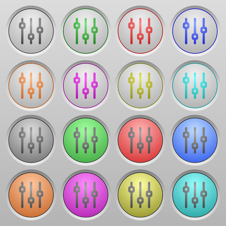 adjustment: Set of vertical adjustment plastic sunk spherical buttons on light gray background. 16 variations included. Well-organized layer, color swatch and graphic style structure. Easy to recolor.