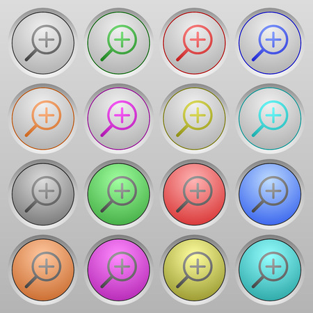 humped: Set of zoom in plastic sunk spherical buttons on light gray background. 16 variations included. Well-organized layer, color swatch and graphic style structure. Easy to recolor.