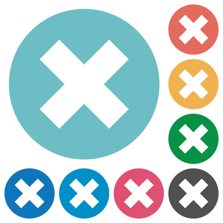 Flat cancel icon set on round color background. 8 color variations included with light teme.