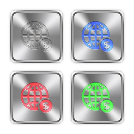 layer styles: Color online payment icons engraved in glossy steel push buttons. Well organized layer structure, color swatches and graphic styles. Illustration