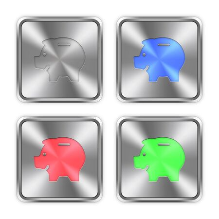 layer styles: Color piggy bank icons engraved in glossy steel push buttons. Well organized layer structure, color swatches and graphic styles. Illustration
