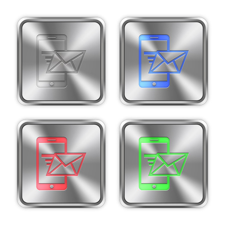 color swatches: Color smartphone mail icons engraved in glossy steel push buttons. Well organized layer structure, color swatches and graphic styles. Illustration