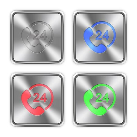 color consultation: Color 24 hour service icons engraved in glossy steel push buttons. Well organized layer structure, color swatches and graphic styles.