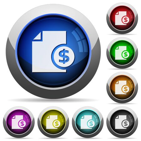 report icon: Set of round glossy money report buttons. Arranged layer structure. Illustration