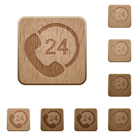 variations: Set of carved wooden 24h service buttons. 8 variations included. Arranged layer structure. Illustration